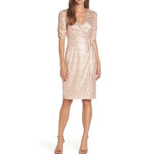 Eliza J Sequin Faux Wrap Dress in Nude NWOT